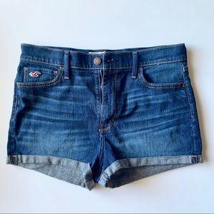 Hollister High Waisted Medium Dark Jean Shorts